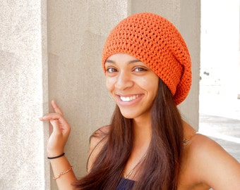 Slouchy Hat Crochet, Women,Teen, Men, Pumpkin, Orange, Unisex,,