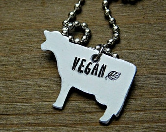 Vegan Cow Necklace Gift Animal Silver Stamped Custom Jewelry Vegetarian Veg Cruelty Free Animal Rights Activist Birthday Christmas Valentine
