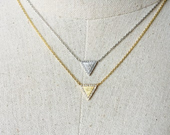 CZ Triangle Necklace, 14k Gold plated/Silver, Dainty Triangle Necklace, Tiny Triangle Necklace, 16k Gold Plated Triangle Necklace