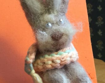 Harriette is 4 1/2 in. Fuzzy Bunny, Hand needle felted for your collection. She comes withAdoption Papers and ready for her new home.