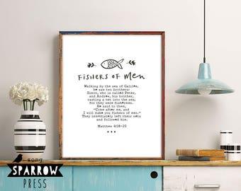 "Scripture Print, Scripture Art, Bible Verse Art, Christian Wall Art, ""Fishers of Men"", Matthew 4:18-20, Printable Art, Instant Download"