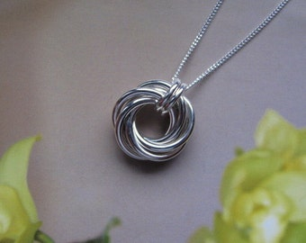 Small Round Sterling Silver Pendant Necklace, Mobius Flower Circle Pendant, Love Knot Pendant