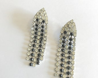 on sale jewelry earrings crystal and black  rhinestone dangle drop clips jewelry vintage fashion accessories