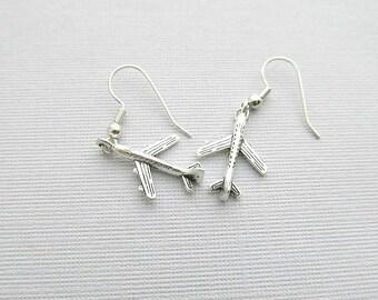 Airplane Dangle Earrings, Travel Earrings. Hoop earrings