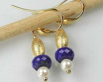 Lapis Lazuli, Pearl and Vermeil Earrings Blue White Gold
