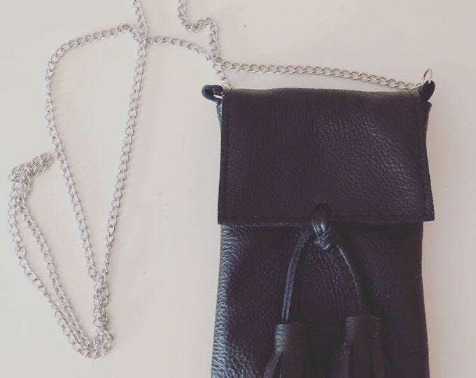Black Small Handmade Leather Cell Phone Purse/ Small Leather Cross body.
