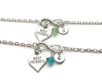 2 Personalized Best Friends Bracelet, Best Friends Bracelets, Bracelets For Best Friends, Swarovski Birthstone Bracelets, Initial Bracelets