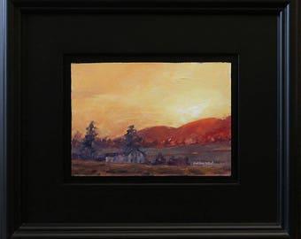 Brush Valley Sunrise, oil painting on hardboard, 5x7 inches, in satin black frame