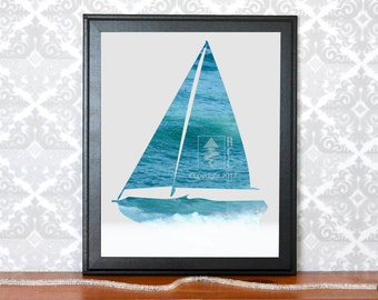 Sail Boat Wall Art, Nautical Nursery Ocean Boat Printable Wall Art, Gifts for Boys Room, Gifts for him, Beach Decor