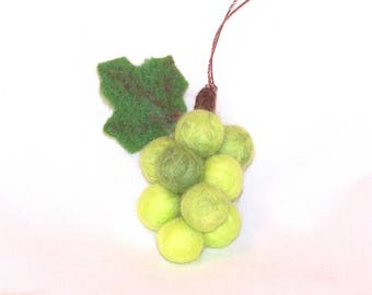 Felt Christmas - Miniature Fruit Ornament - Needle Felted - Bunch of Green Grapes - Mini Ornament - Grape Cluster - Felted Grapes