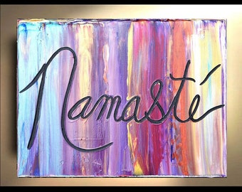 Namaste Wall Art Original Paintings Decor, art, Painting on canvas, Zen Art decor, Namaste,quotes, artwork, art, gifts,by Katey