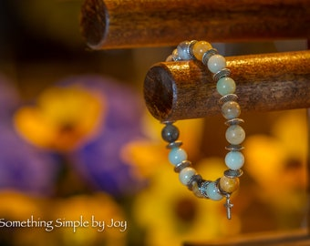Amazonite with Silver