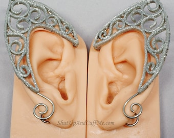 Silver Elf Ears, Scroll Elf Ears, Silver Glitter Elf Ears, Clay Filigree Elf Ears, Polymer Clay Elf Ears, Fantasy and Cosplay - PAIR