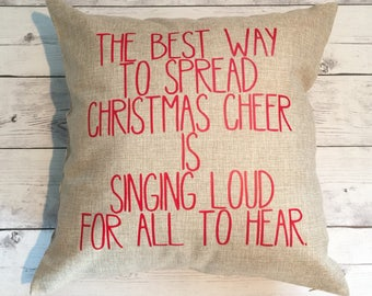 Christmas pillow cover, 18x18, Best way to spread cheer, Elf