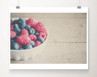 raspberry photograph blueberry photograph food photography kitchen wall art raspberry print blueberry print food print