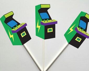 Arcade Cupcake Toppers, Arcade Game Cupcake Toppers, Video Game Cupcake Toppers - Gaming Cupcake Toppers, 80's cupcake toppers