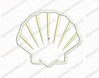 Seashell Applique Embroidery Design in 3x3 4x4 and 5x5 Sizes