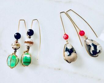 Agate Earrings, Chrysoprase Earrings, Australian Jade Earrings, Geometric Earrings, Boho Jewelry, Gift for Her