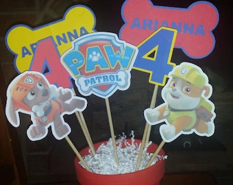 Paw Patrol Character Centerpiece Cut Out on a Stick (Customizable Options)