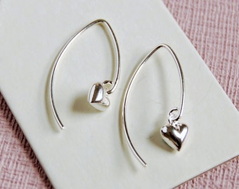 Tiny Silver Heart Wire Earrings ~ Wedding, Anniversary, Bridesmaid, Birthday Earrings