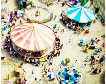Large Scale Carousel Print // Coney Island Aerial Photography // Large Wall Art for A Colorful Carnival Themed Nursery or Bright Kid's Room