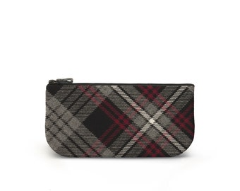 Auld Lang Syne Tartan Makeup / Cosmetic Bag - Plaid Purse / Pouch -  100% Wool, Leather & Suede - Handmade in Scotland