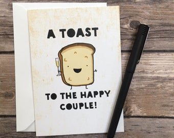 toast card - wedding card - engagement card - happy couple card - congrats card - funny foodie wedding - toast wedding card - blank greeting