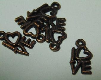 10 antiqued copper LOVE charm, 15 x 8 mm (1)