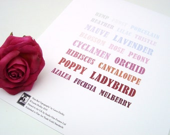 Pink Typography Art Print 5x7 - Pink, Red, Purple, Plum