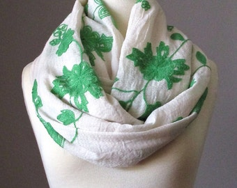 Oversized Infinity Scarf, Floral Scarf, Embroidered Green on Cream Scarf, Pastel Circle Infinity Scarf, Light scarf, Spring scarf