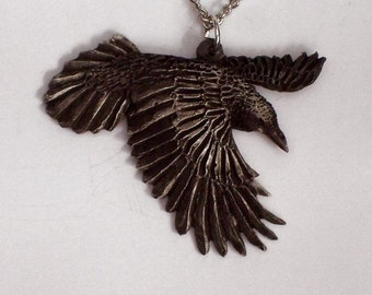 Raven.......New Design Hand Carved in fine Blacken Pewter.....