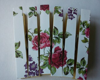 Clothespins Fridge Magnets Magnetic Pegs raspberry rose