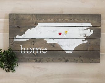 North Carolina home wooden sign / state sign / state home sign / heart for your city/ mancave / dorm decor / housewarming gift