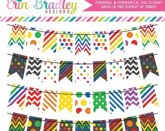 80% OFF SALE Rainbow Bunting Clipart Banner Flags Clip Art Graphics Instant Download Chevron Stripes Polka Dot Patterns Instant Download