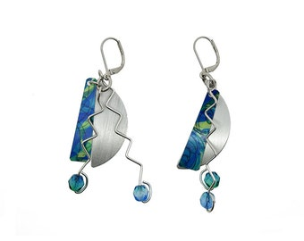 Anodized aluminum sheet and wire half moon earrings with crystal beads, unique, original and chic, turquoise