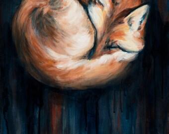 Sleeping Fox, Fox Art Print, Sleeping Fox Art Print,  9x12 giclee print