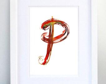 Print, Art Print, Wall Decor, Wall Art, Illustration Print, Red Green Ink Drawing, Letter P, print 8x11.5 inch (21x29.5 cm)