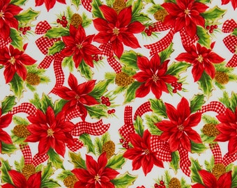 Michael Miller OOP Retro Holiday Fabric - Poinsettia - One Yard