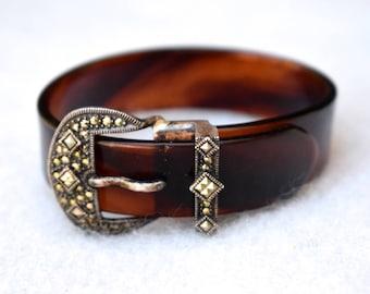 Judith Jack Lucite and Marcasite Sterling Buckle Bracelet Designer Vintage