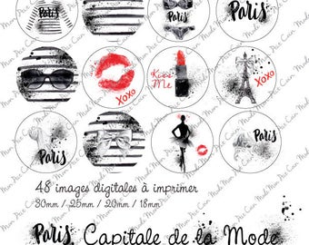 """Digital images for cabochons """"PARIS, capital of fashion"""" (48 images) to cut and stick on your creations"""