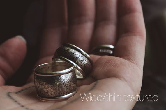 The Go To Ring//READY TO SHIP//Textured or Stamped Wide Ring//Sterling Silver//