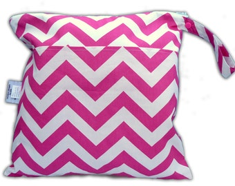 SALE / Candy Pink Chevron Small Wet Bag