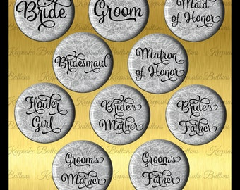 Bridal Shower White Lace Image Over Blue Buttons, 2018 Wedding Color Bridal Shower Buttons, Bachelorette Party, Lace Wedding Party Buttons,
