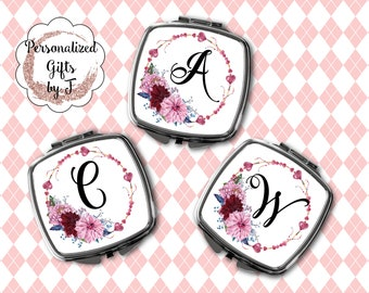 Compact Mirror, Bridesmaid Gifts, Personalized Bridesmaid Gift, Personalized Compact Mirror, Monogrammed Mirror design 1118