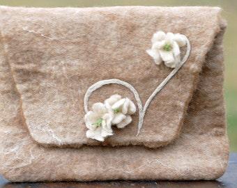 Hand Felted Suri Alpaca Clutch Bag with Felt Flowers