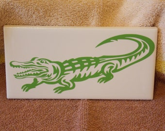 Decorative Tile~ Alligator print on white ceramic 3x6