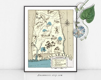 ALABAMA MAP - Instant Digital Download - printable vintage picture map for framing, totes, crafts, wedding gift - fun home decor printable