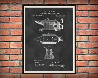 Patent 1877 Anvil and Vise Art Print - Poster - Farrier Wall Art - Blacksmith Tools - Metal Working Tools - Metal Forge Tools - Man Cave