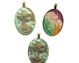 Lady cameo for necklace, vintage style cameo pendant hand patina pendants. 2 sided bezel for talented designers. 2 in 1 necklace jewelry