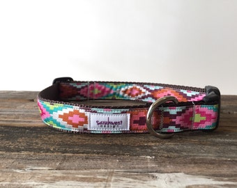 Tribal Dog Collar - Aztec Dog Collar - Adjustable Dog Collar - Designer Dog Collar Medium or Large